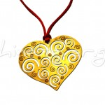 Heart with Spirals, Gold-Plated Silver Pendant