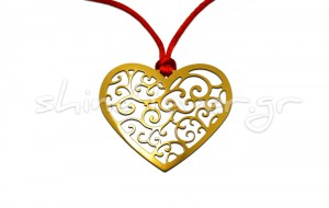 Gold-plated heart-shaped pendant