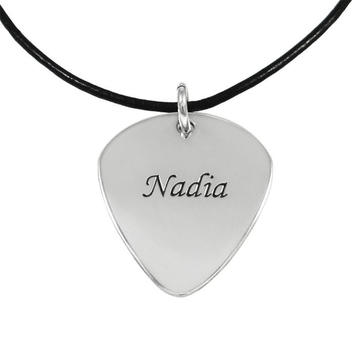 Silver guitar pick pendant