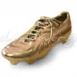 Gold-plated football shoe